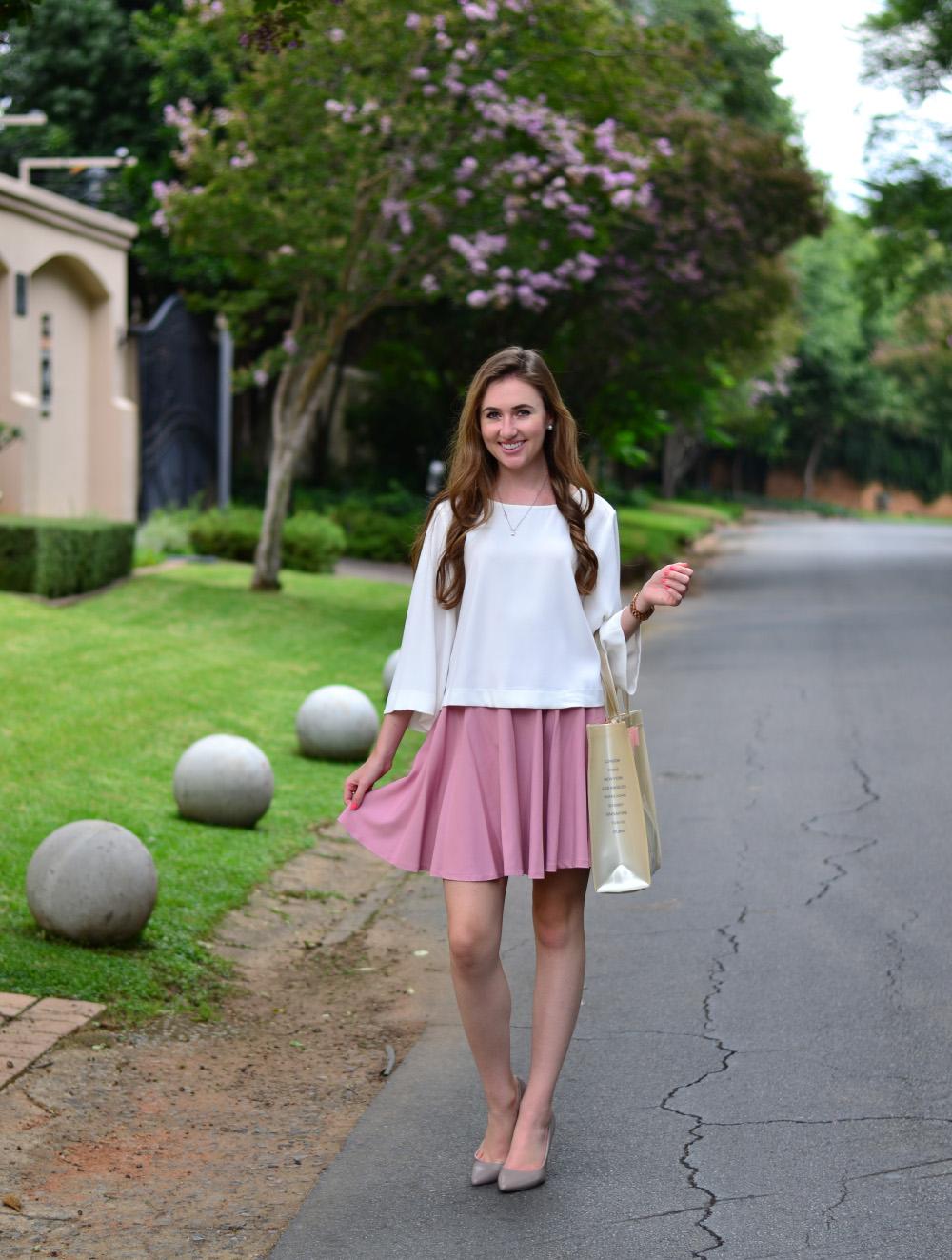 blush pink skirt
