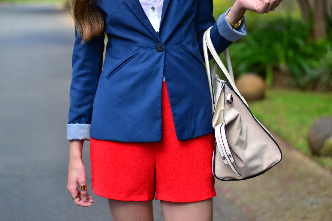 red mr price high waisted shorts