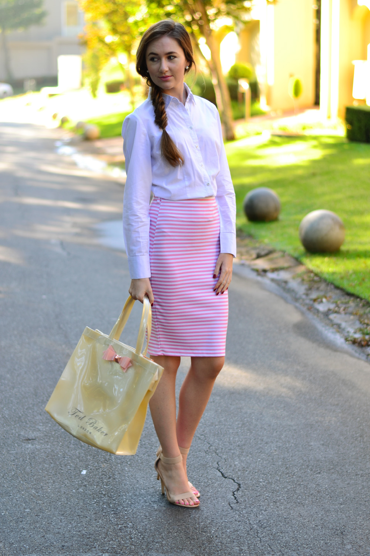Striped Pencil Skirt - Arum Lilea