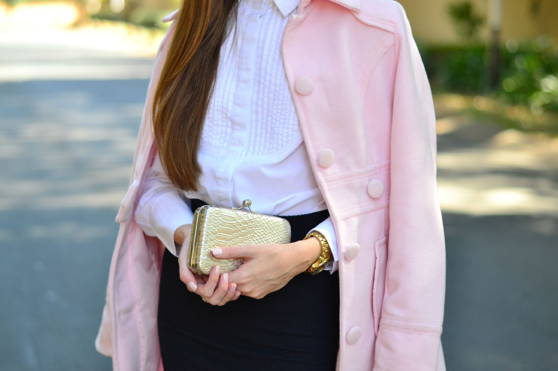 forever new clutch pink coat