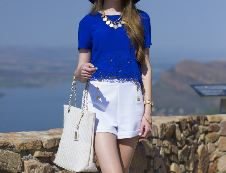 mr price felt hat - forever new crop top - forever new bag - mr price high waisted shorts