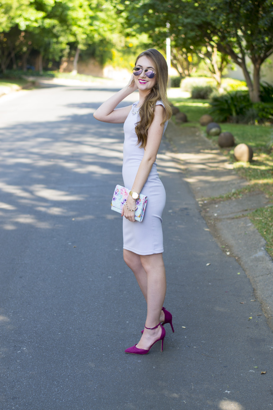 truworths dress - forever new clutch - forever new heels - juicy couture watch - ray-ban aviators