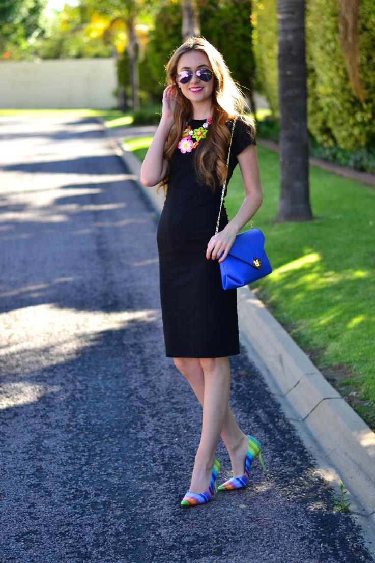 cotton on - little - black dress - dune heels - purse - ray-ban sunglasses
