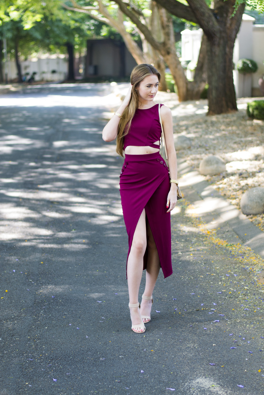 maroon two piece