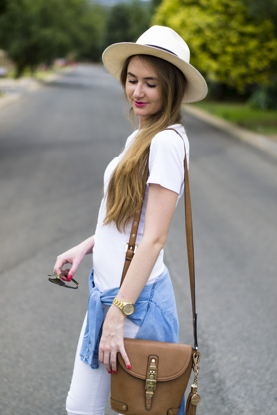 polo - panama - hat - foschini chambray shirt - woolworths t-shirt - dune london bag