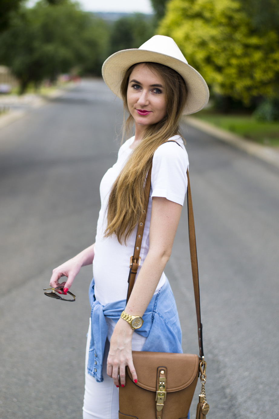 white panama - white woolworths t-shirt - foschini chambray shirt - dune london bag