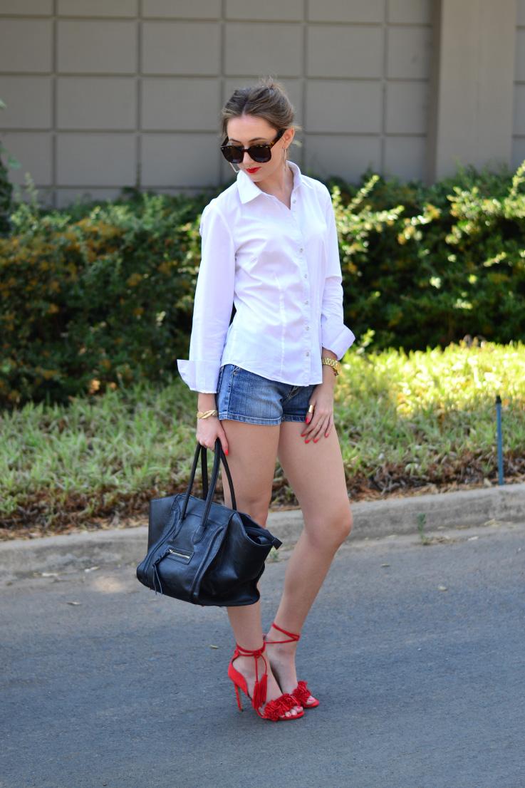 white shirt and denim - shorts - red - heels - blackcherry - bag