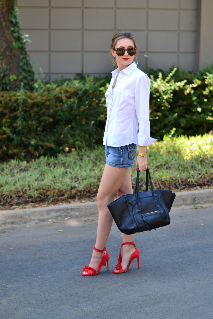 white shirt and denim - red - river island - heels