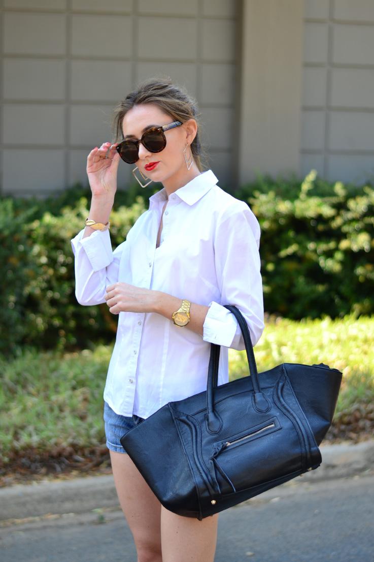 white - shirt - topshop - sunglasses - blackcherry - bag