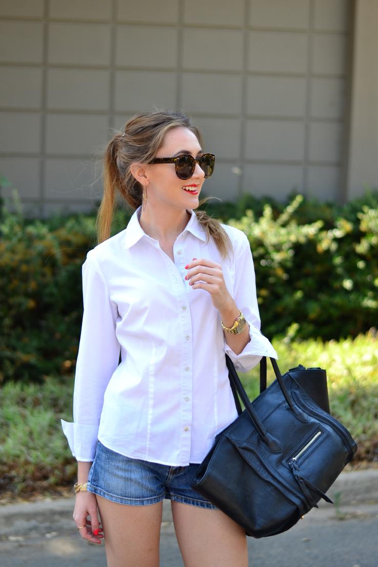 white shirt and denim - topshop - sunglasses - revlon - lipgloss