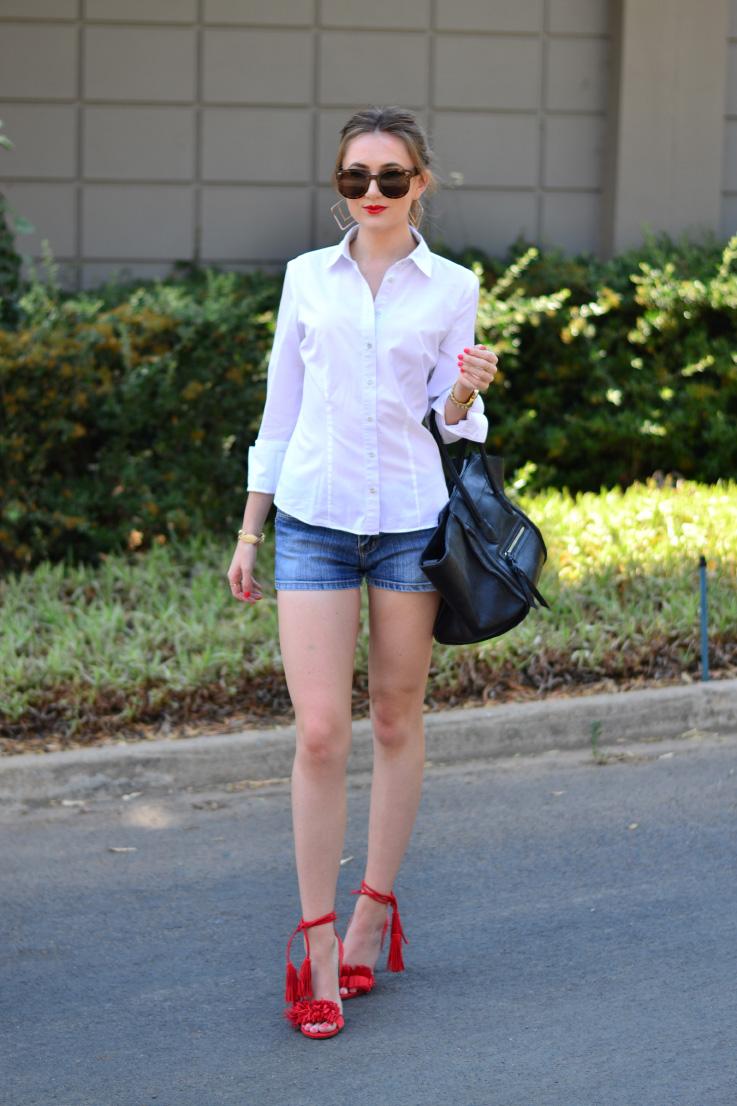 woolworths - shirt - denim shorts - river island - heels - blackcherry - bag - topshop - sunglasses