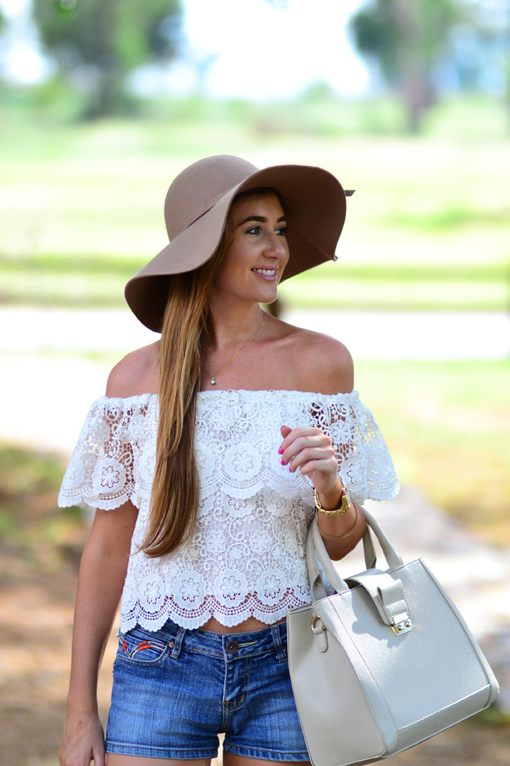 cotton on hat - forever new - crochet - off-the-shoulder top