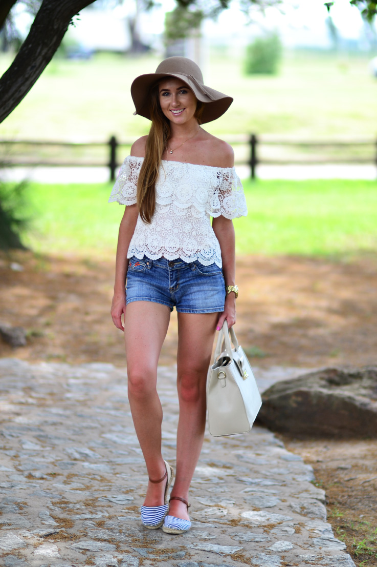summer outfit - crochet - felt hat - denim - forever new - cotton on