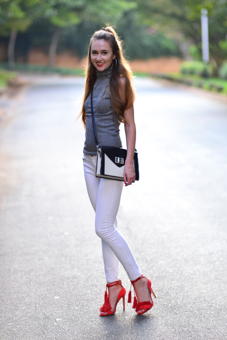 white denim jeans - woolworths - river island - fringe heels - aldo - boy bag - forever new - turtle neck