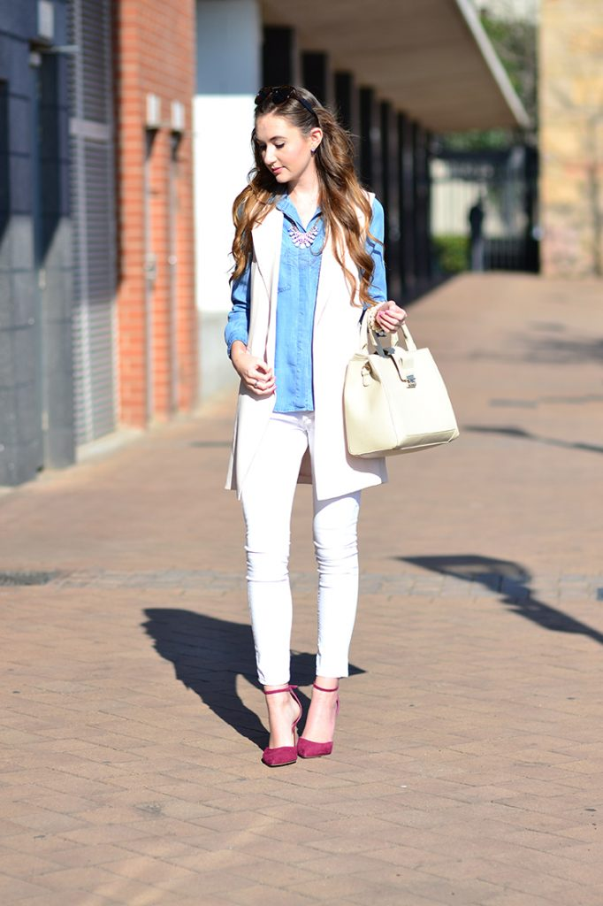Chambray blouse and white denim jeans