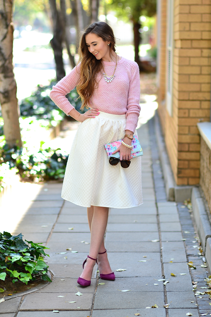 Arum Lilea - Truworths pink knit - Mr Price midi skirt