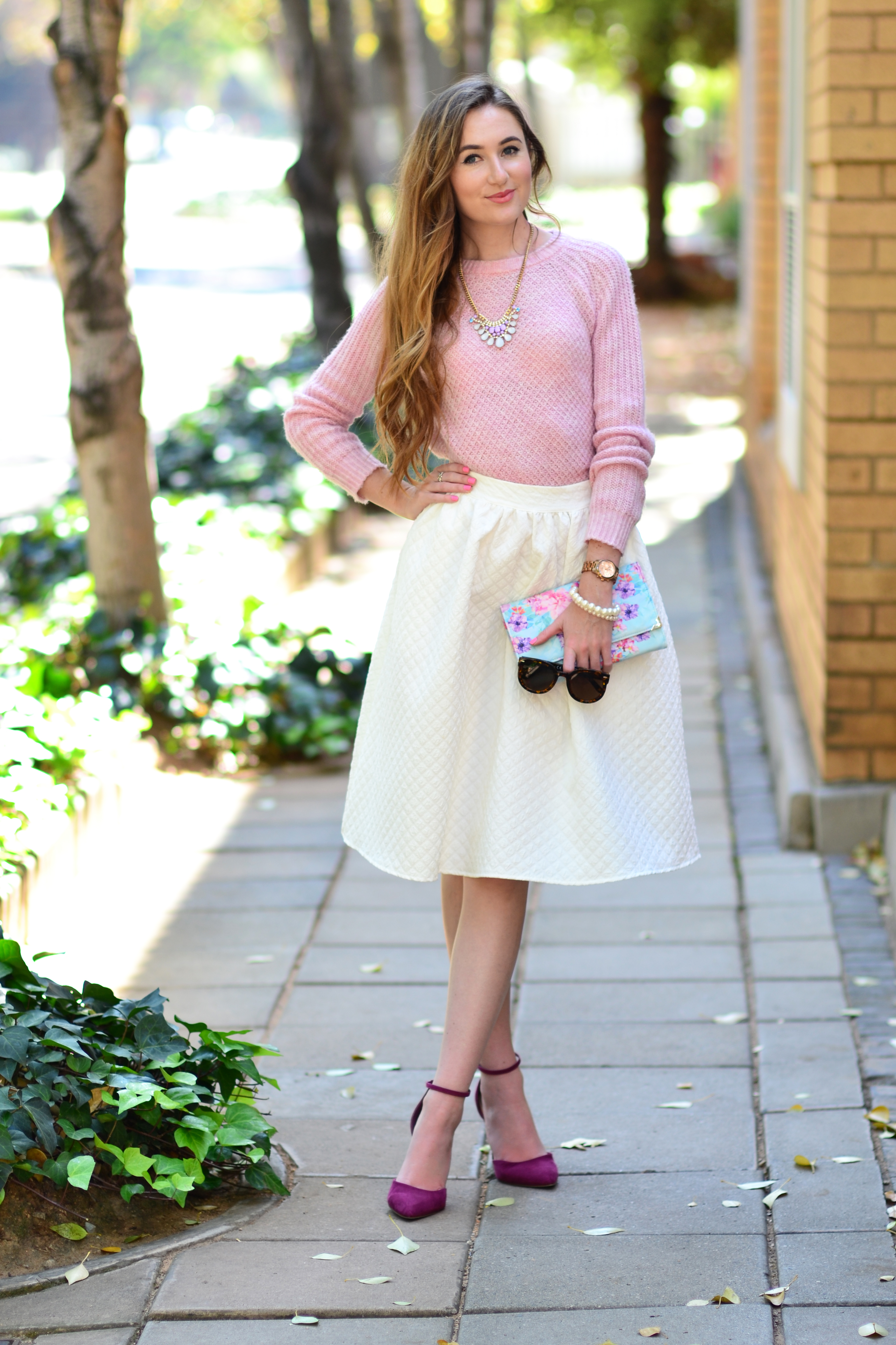 Arum Lilea - Feminine Dressing - Truworths pink knit sweater - MRP white midi skirt - Forever New suede pumps - Forever New floral clutch purse