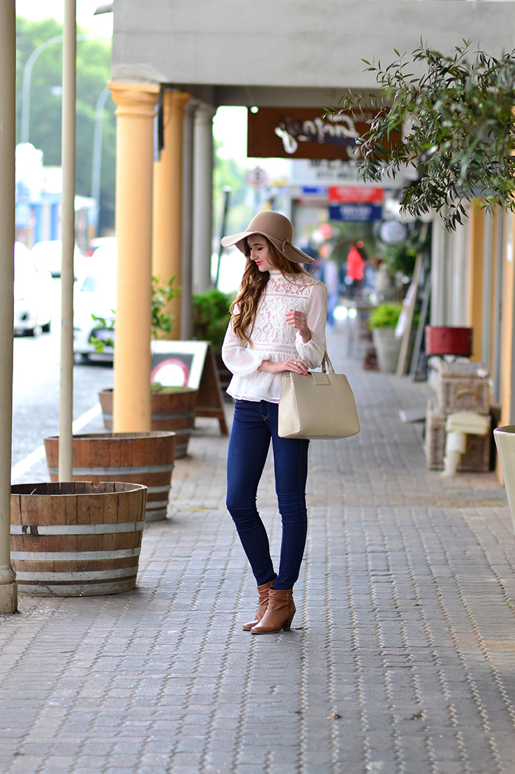 Arum Lilea - Cotton On hat - Forever New blouse - Salsa jeans - Woolworths boots - Zara handbag