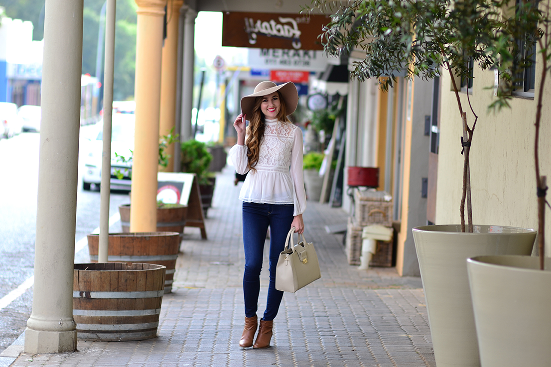 Arum Lilea - Forever New lace blouse - Cotton On hat - Salsa jeans - Zara blouse - Woolworths boots