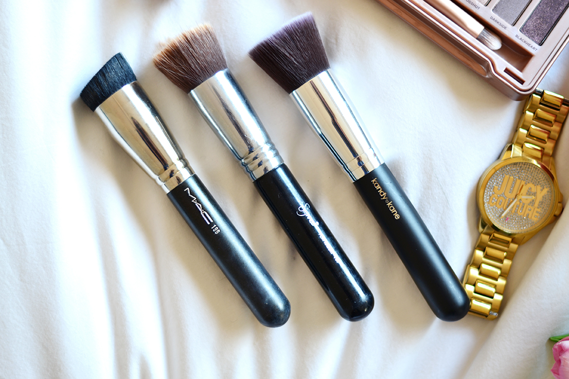 Best foundation brushes - MAC 196 - Sigma F80 Flat Top Kabuki - Kandy Kane