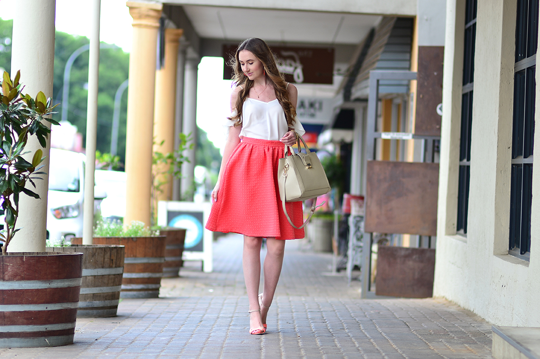 cold shoulder top and midi skirt