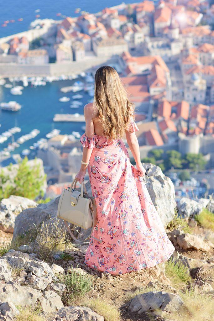 Off the shoulder maxi dress in Dubrovnik