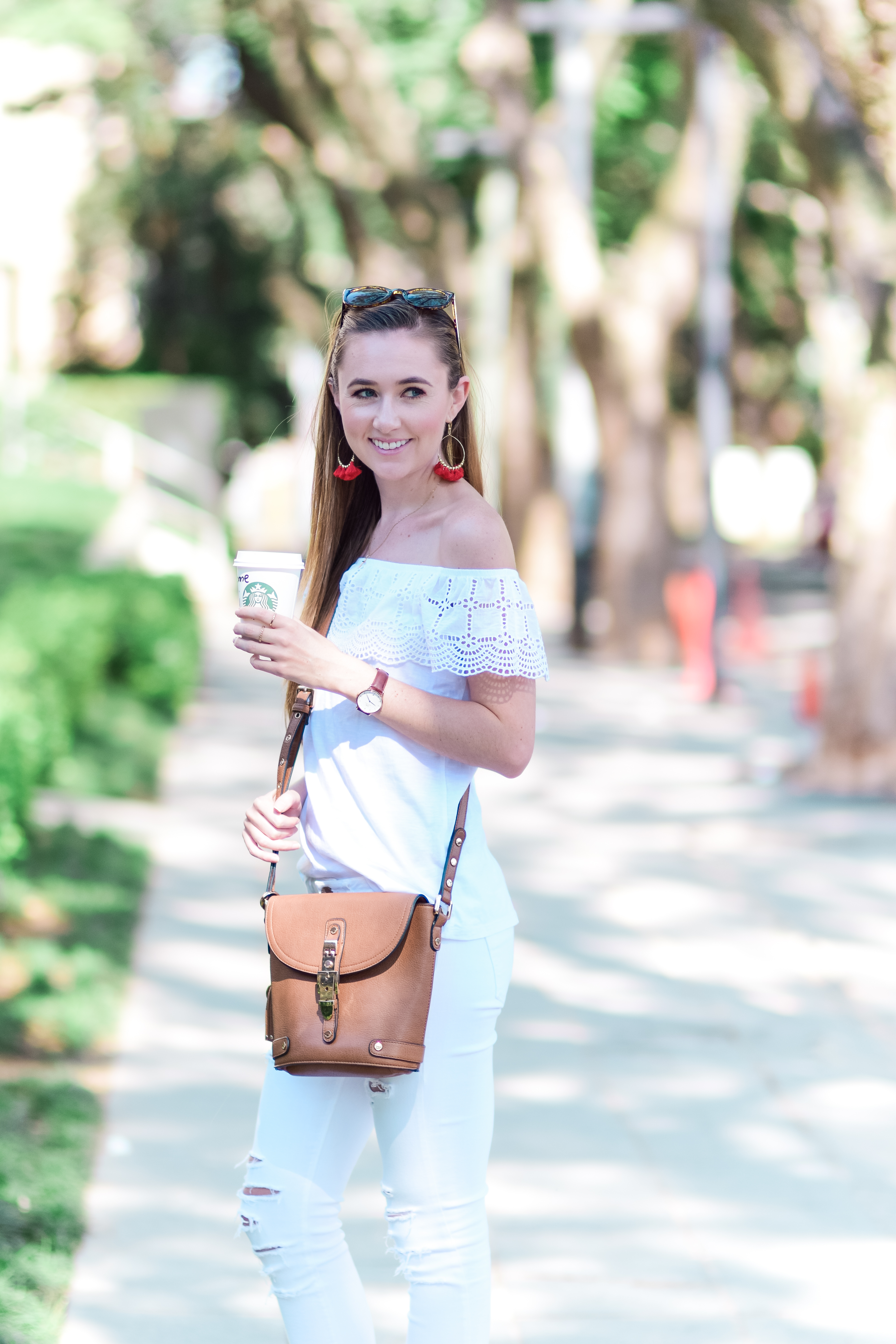 An all-white look is my go-to choice when it comes to my ultimate weekend wear. Whether with an off-the-shoulder top like the one I'm wearing here or a bodysuit and a great pair with white denim jeans, I know that I can pull a look together in next to no time
