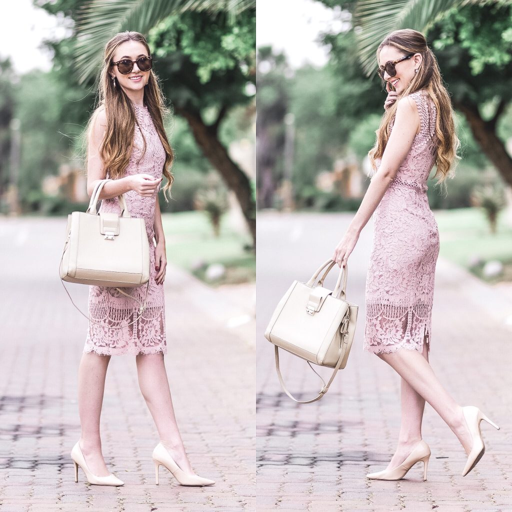 pink lace dresses currently on sale