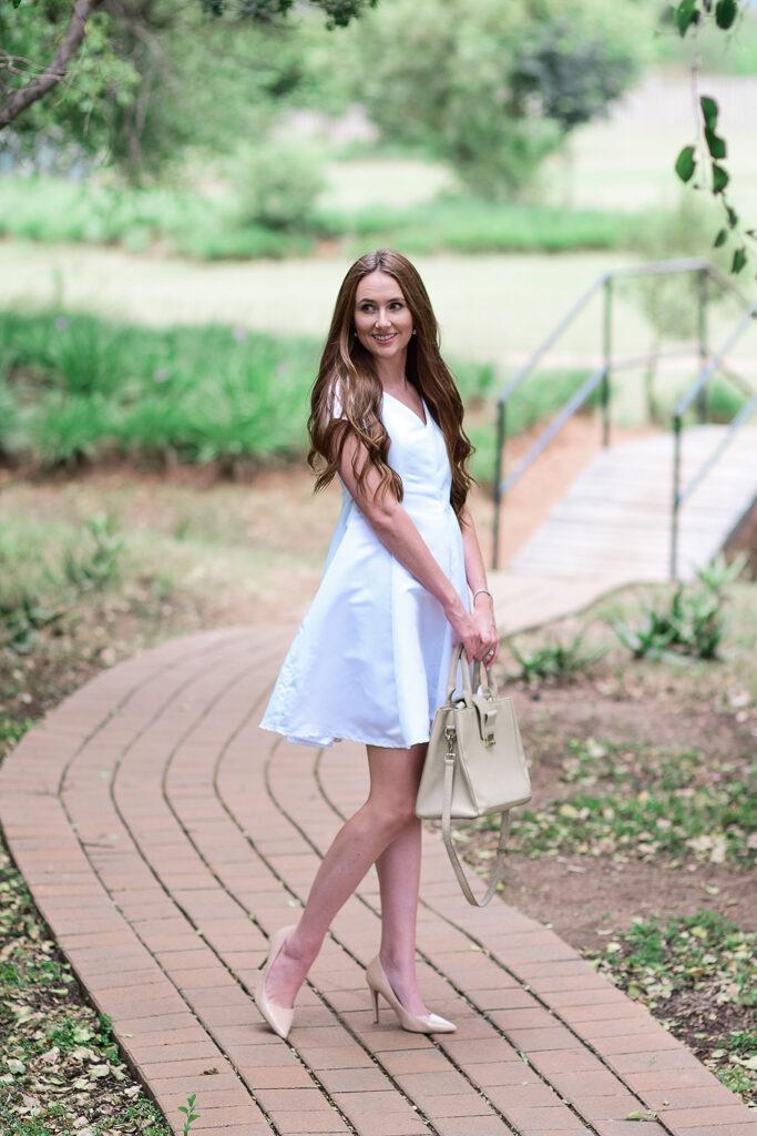 White Satin Panelled dress