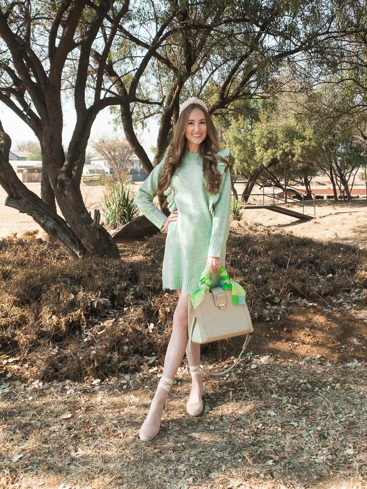 Sage green sweater dress-4